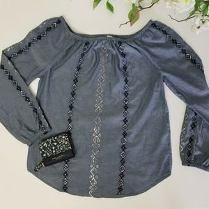 Chico's Off The Shoulder Long Sleeve Blouse Size 0